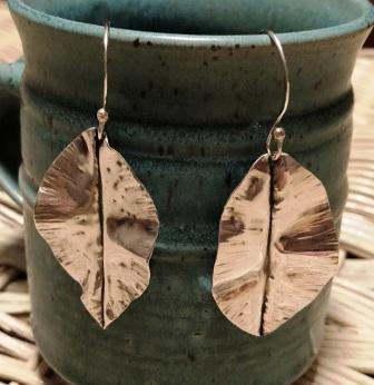 Foldforming Fine Silver Leaf Earrings